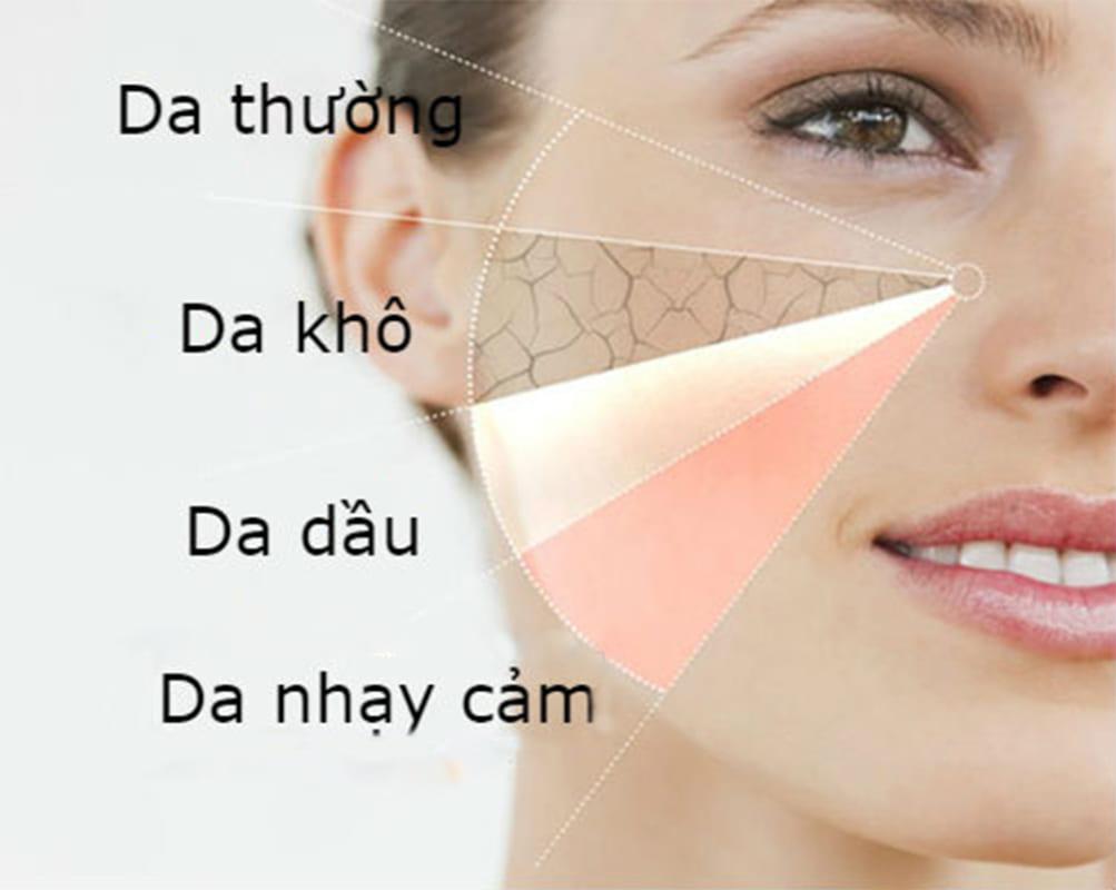 xác định các loại da trước khi lựa chọn sản phẩm phù hợp