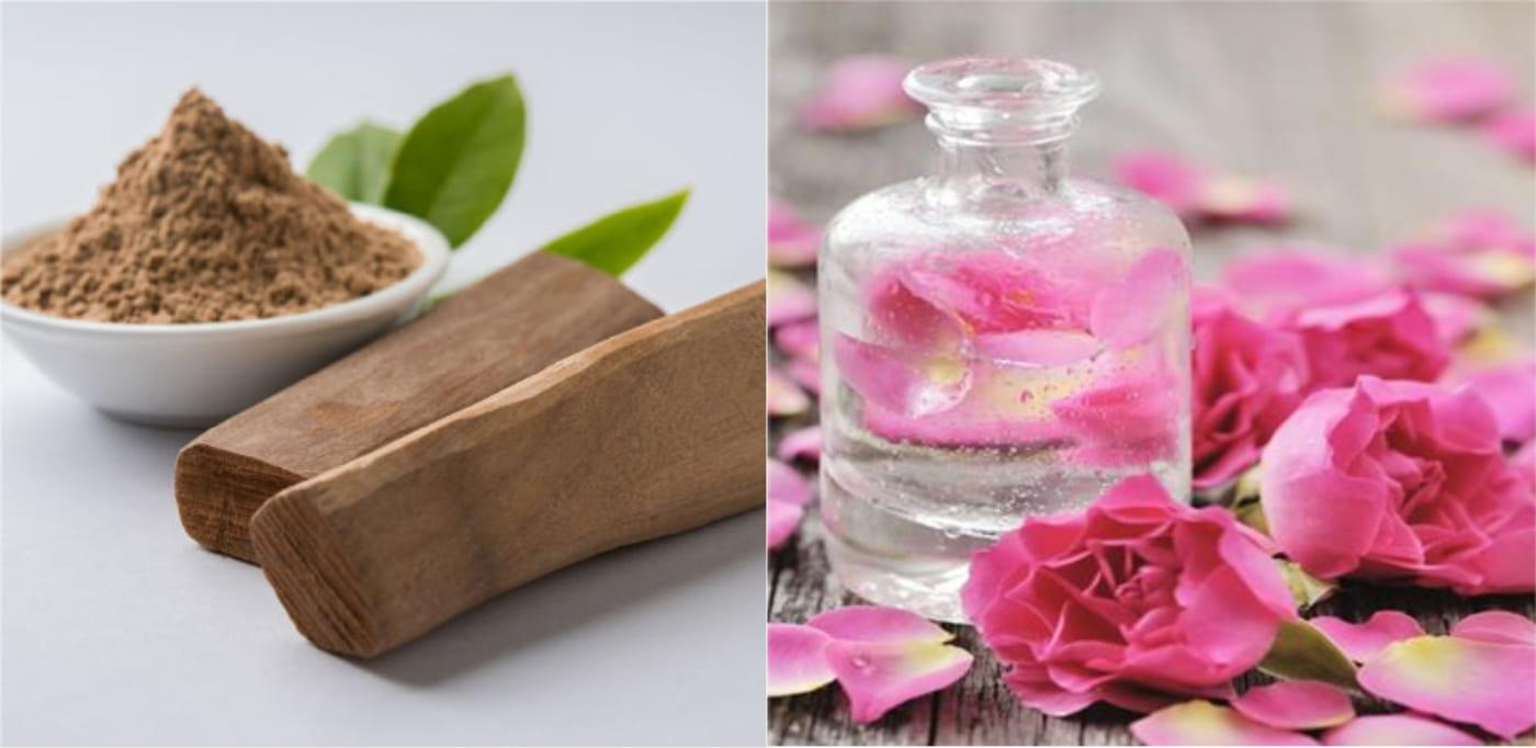 trị mụn lưng bằng gỗ đàn hương và nước hoa hồng